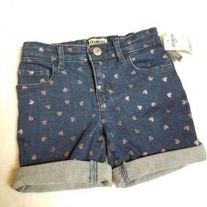 Oshkosh girl heart print shimmer jean shorts